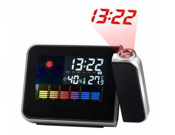 Настольные часы-метеостанция с проектором времени  Kronos 8190  Черные