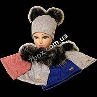 Детская шапка с меховыми помпонами ангора+флис для девочек от 8 лет. Украина 7556