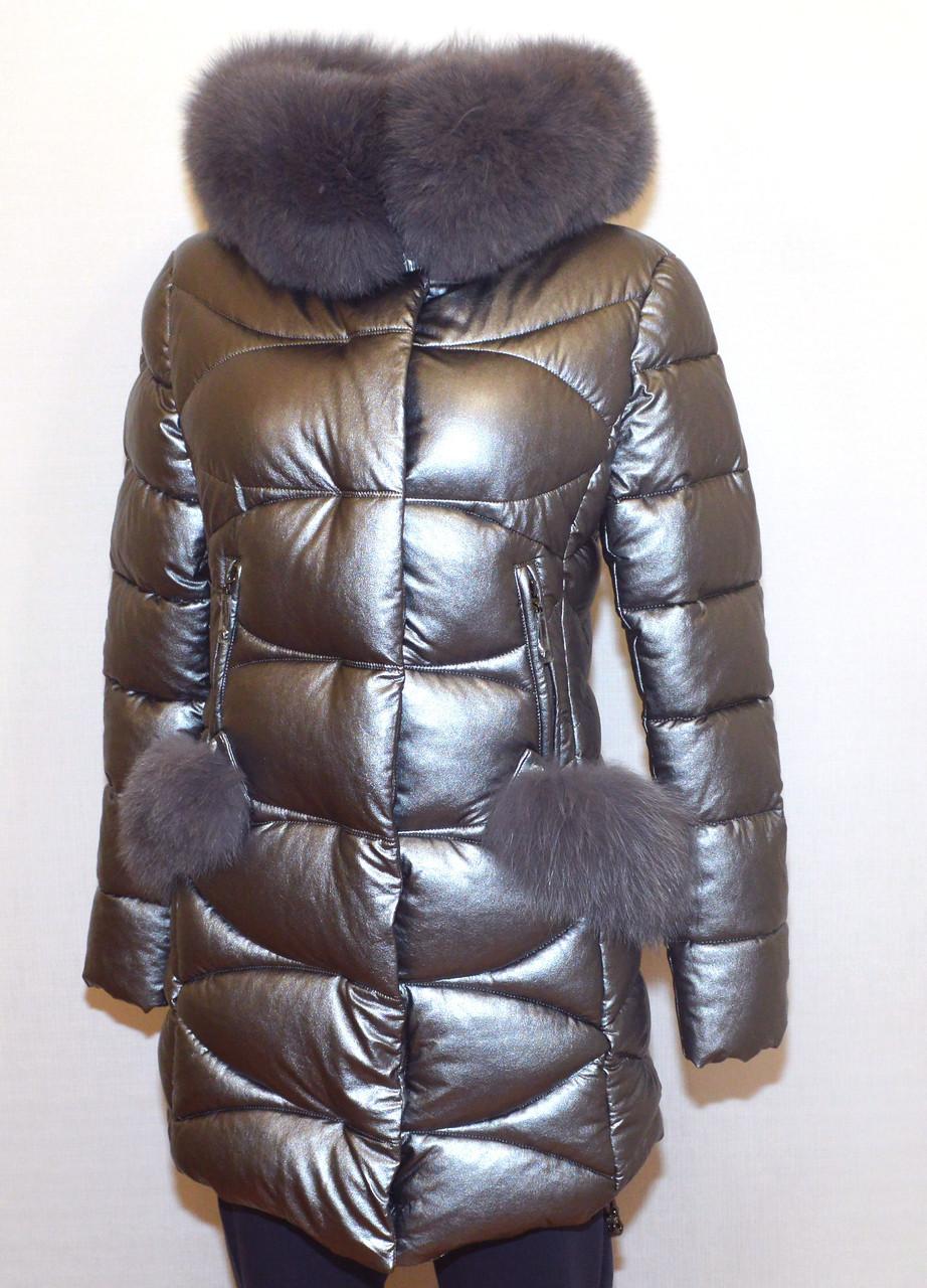 Модная зимняя куртка экокожа Qarlevar 6070 ( S, L)