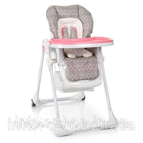 Стульчик для кормления детей Bambi M 3890-3 из кожы (серо-розовый)