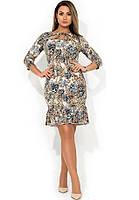 Красивое платье миди с вырезом на декольте и воланом на юбке размеры от XL ПБ-112