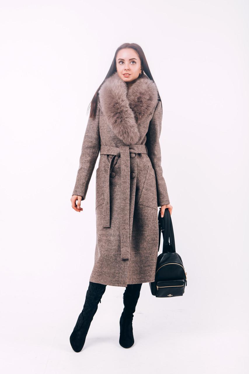 Длинное бежевое пальто с мехом O.Z.Z.E Д271