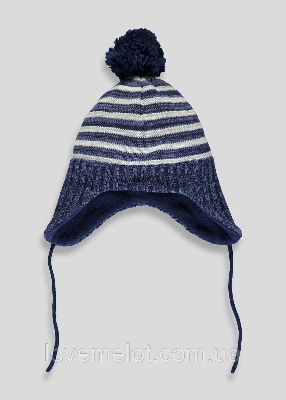 """Теплая детская вязанная шапка на флисе зимняя шапочка для мальчика """"Винд"""" на 1-2 года, 2-4 года"""