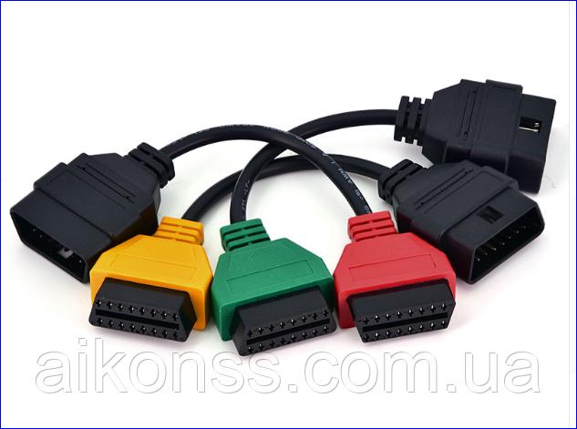 Комплект кольорових кабелів для Fiat ECU Scan OBD2 16Pin Роз'єм