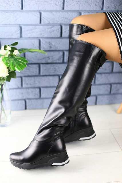 Жіночі чоботи зимові шкіряні панчохи на танкетці (чорні)