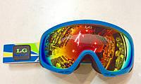 Очки горнолыжные голубая оправа зеркальные (двойные линзы)