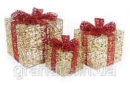 Набор декоративных подарков 3шт с подсветкой цвет - золото с красным