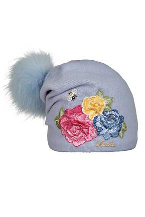Дитяча вовняна шапочка ручної роботи з вишитими трояндами, фото 3