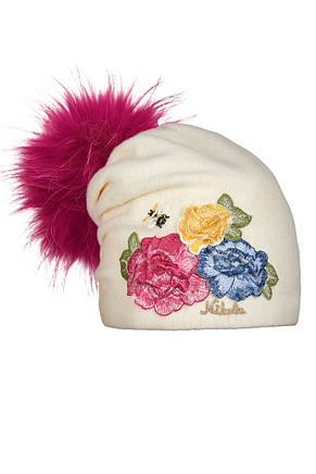 Дитяча вовняна шапочка ручної роботи з вишитими трояндами, фото 2