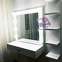 Навесной гримерный столик с лампами и полкой, столик для макияжа с подсветкой, фото 2