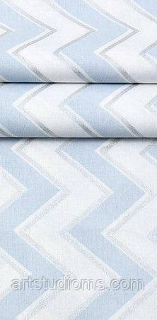 Ткань. Хлопок  зигзаг голубой с серебром на белом. Отрез 50х40см