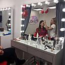 Стол  визажиста, макияжный столик, гримерный столик, зеркало с подсветкой, белый, фото 3