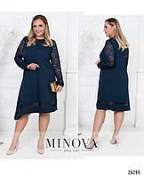 63444accf67 Женское ассиметричное платье Еврокостюмка со вставками гипюра Размер 50 52  54 56 58 60 В наличии 6 цветов