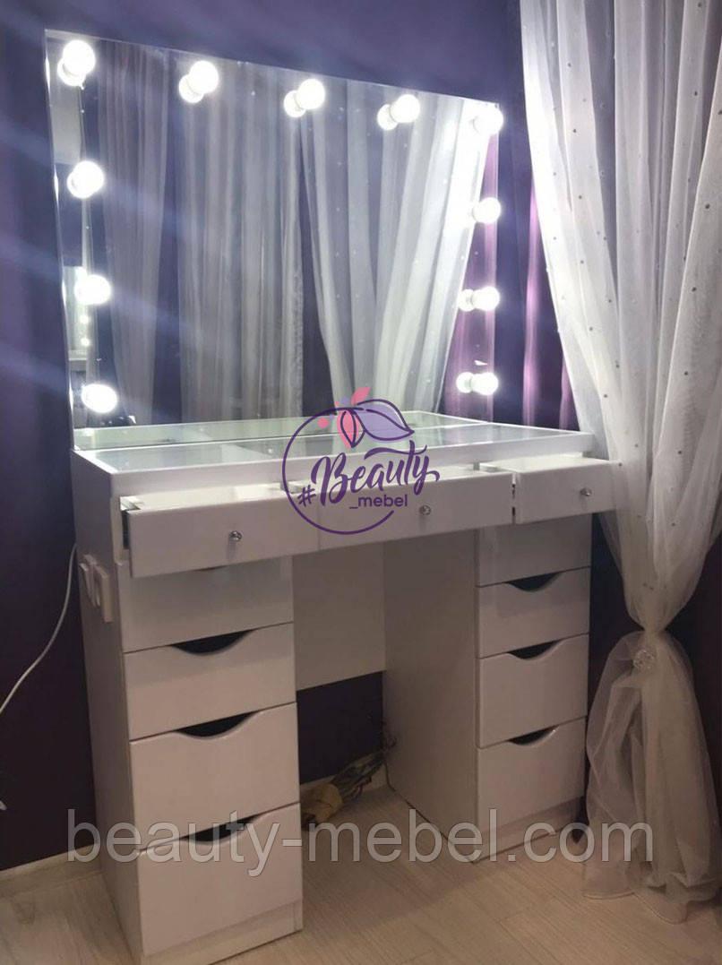 Гримерный стол со стеклянной столешницей, большое зеркало с лампами