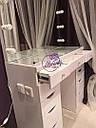Гримерный стол со стеклянной столешницей, большое зеркало с лампами, фото 2