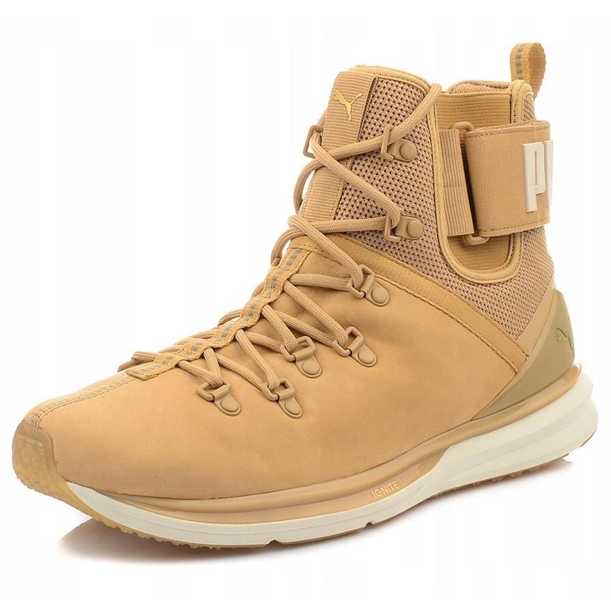 Ботинки мужские Puma IGNITE Limitless Boot Leather 190563 02 (бежевые, кожаные, осень/зима, логотип пума)