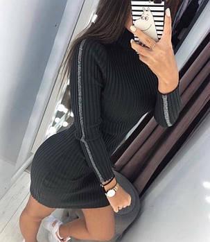 Вязаное женское платье-гольф Хаки. (3 цвета) Р-ры: 42-46. (103)488. , фото 2