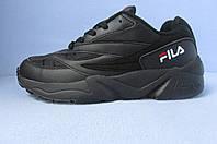 Кроссовки мужские FILA (реплика) 3035 черные  код 644А