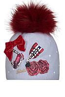 Теплая шерстяная детская шапочка ручной работы с оригинальной аппликацией