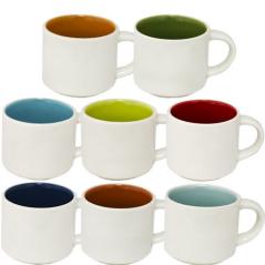 Чашка Кофейная микс 70мл вариант от 1 до 8 цв белая снаружи