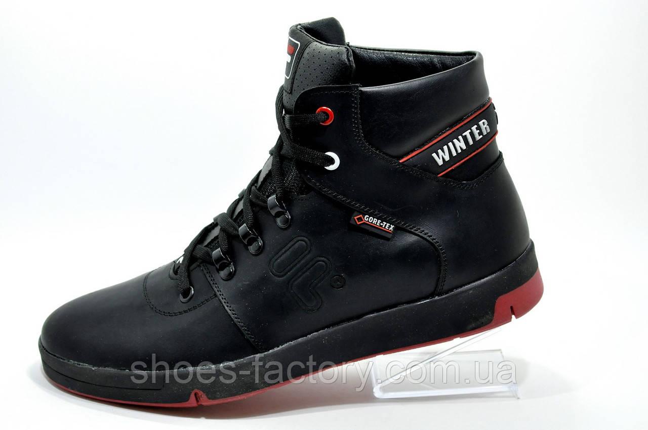 Мужские ботинки на меху в стиле Fila Winter кожа, Black