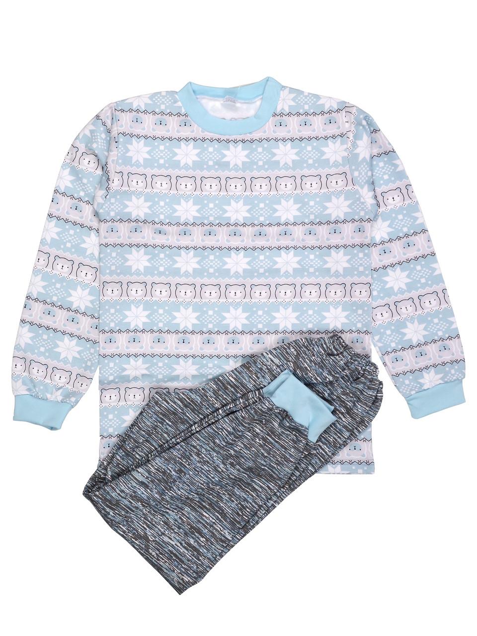 Теплая пижама детская (футер), принт зима