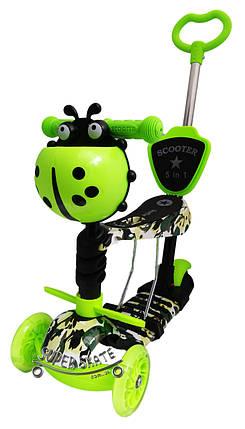 Детский самокат Scooter 5 в 1, самокат беговел с сиденьем и родительской ручкой - Камуфляж, фото 2