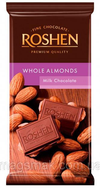 Шоколад Roshen Молочный с целым миндалем 90 г
