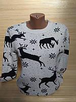 Новогодний теплый свитер с оленями и снежинками р. 44-48 Турция, фото 1