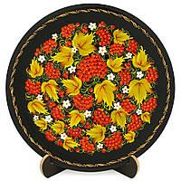 Тарелка деревянная. Калиновая феерия. Украинский сувенир. Петриковская роспись., фото 1