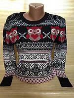 Новогодний свитер с совами и резным орнаментом р. 44-48 Турция