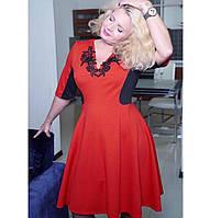 Платье контрастное с апаликацией  KS0006
