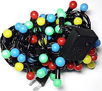 Новогодняя Гирлянда Шарики Разноцветная 40 led 7цветов