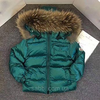 Детская курточка Sabbi зеленая с нагрудным карманом на пуху