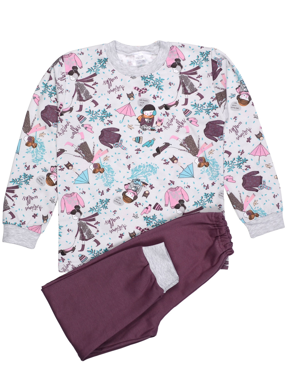 Теплая пижама детская (футер), принт осень