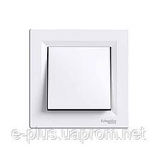 Выключатель одноклавишный самозажимной Schneider Electric Asfora белый