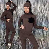 Модный женский костюм тройка штаны + кофта + шапка из ангоры люкс 37404812bbe19