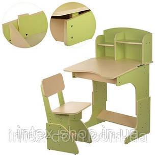 Парта с полочками и стульчиком F2071-5 регулируемая (зеленая), фото 2
