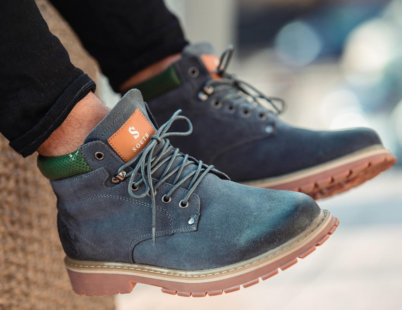 Ботинки мужские зимние нубуковые натуральный мех серые теплые модные  стильные от бренда South - Доберман шоп 5ace1781fca