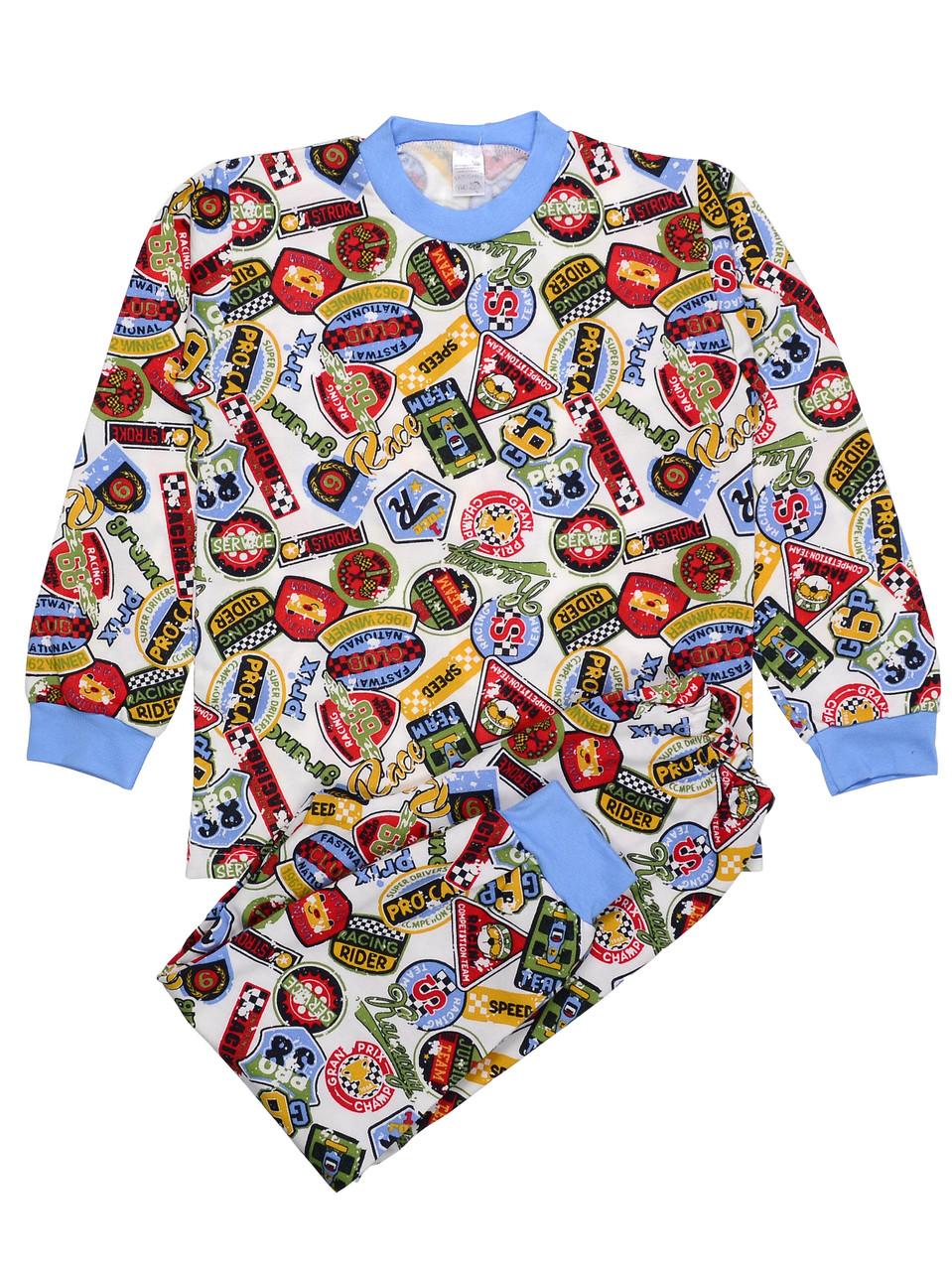 Теплая пижама детская (футер), принт дорожные знаки