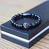 Мужской браслет из натуральных камней Lion Black, каменный браслет со львом, чоловічий браслет Лев, фото 7