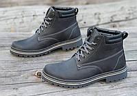 Ботинки мужские зимние кожаные черные (код 3022), фото 1