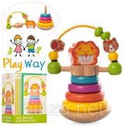 Деревянная развивающая игрушка Пирамидка неваляшка 2 в 1 для малышей