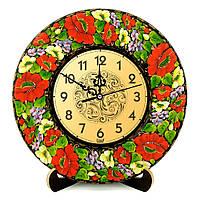 Часы деревянные. Квіти осені. Украинский сувенир. Петриковская роспись.