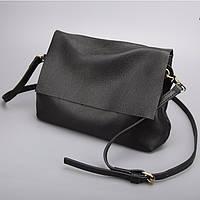 Маленькая женская черная сумка из мягкой натуральной кожи