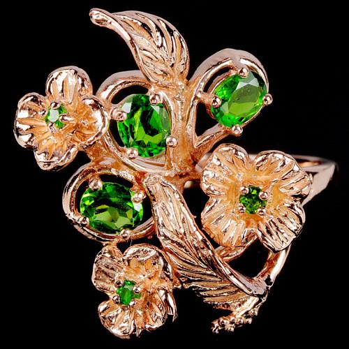 Серебряное кольцо с натуральными Хромдиопсидами
