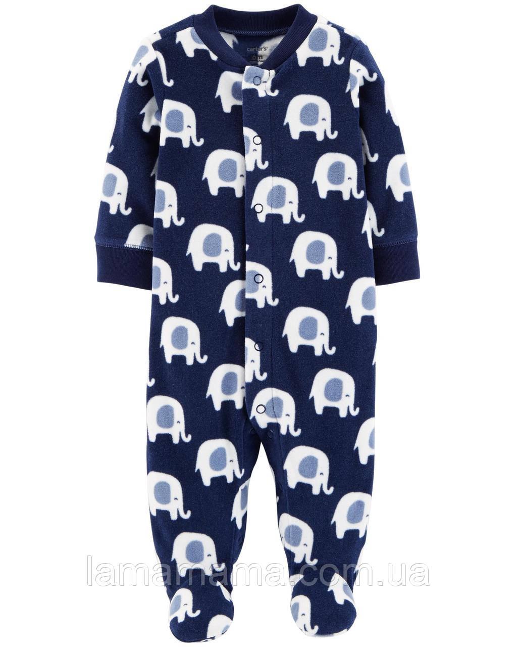 Флисовый слип человечек пижама Слоники Картерс Carter's Elephant Snap-Up Fleece Sleep & Play 6М (61-67 см, 5.7