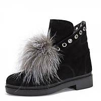 Замшевые ботинки с мехом. Черные.