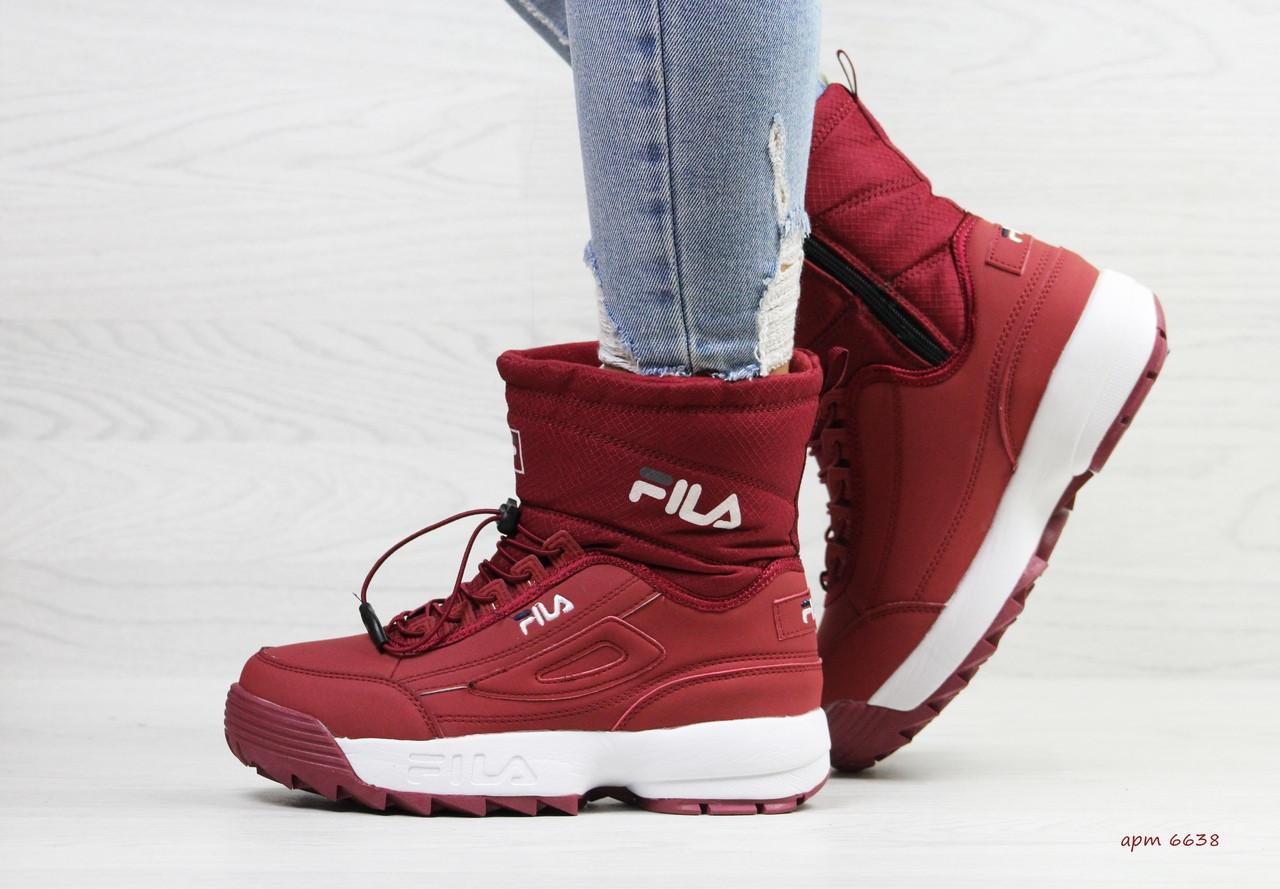 24c382503 Зимние женские кроссовки Fila бордовые / кроссовки женские зимние Фила