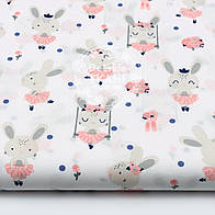 """Ткань хлопковая """"Кролики на качелях"""" на белом фоне, №1600а"""